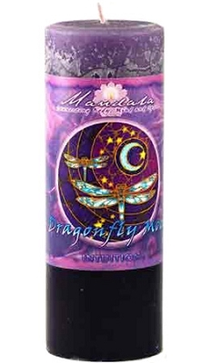 Crystal Journey Mandala Pillar Candle - Intuition - Dragonfly