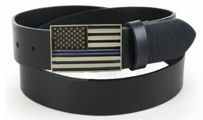 Thin Blue Line American Flag Belt Buckle with Leather Belt