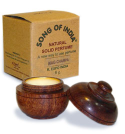 Song of India Solid Perfume in Rosewood Jar - Nag Champa