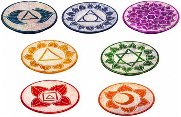 Soapstone Round Incense Burner - Chakras - [7pc Set]