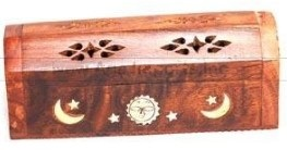 Wooden Box Burner - Mini Celestial Stick & Cone Box - 6""