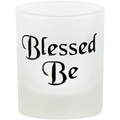 Votive Holder - Etched Glass Blessed Be
