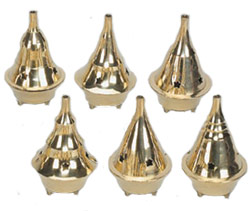 "One Incense Burner - Brass Cone Incense Burner -  2'' D  3.5"" H, assorted styles."