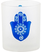 Votive Holder - Etched Glass Fatima Hand