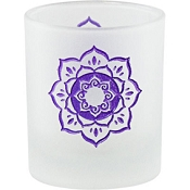 Votive Holder - Etched Glass Lotus