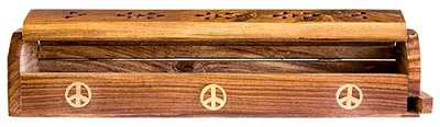 "Wooden Box Burner - Peace 12""L"