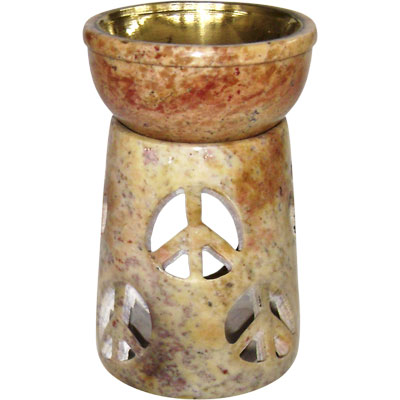 Oil Burner - Soapstone Peace Symbol