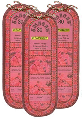 Swagat Strawberry Incense, 6 25-Stick Packs