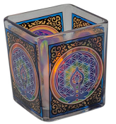 Handcrafted Glass Square Votive Holder - Chakra