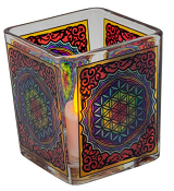 Handcrafted Glass Square Votive Holder - Flower of Life