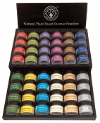 Traditional Incense Co. Incense Powder Display Package w/ Wood Display - [48 Jars]
