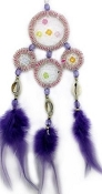Dream Catcher - Medium Pink / Clear Quartz with Purple Feathers