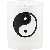 Votive Holder - Etched Glass Yin-Yang