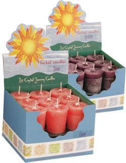 Abundance Crystal Journey Herbal Magic Votive Candles [ Box of 18 ]