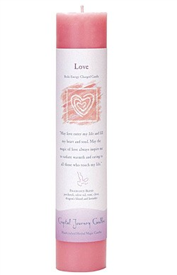 Crystal Journey Herbal Magic Pillar Candle - Love